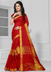 Red Color Art Silk Casual Wear Sarees : Antra Collection  YF-50784