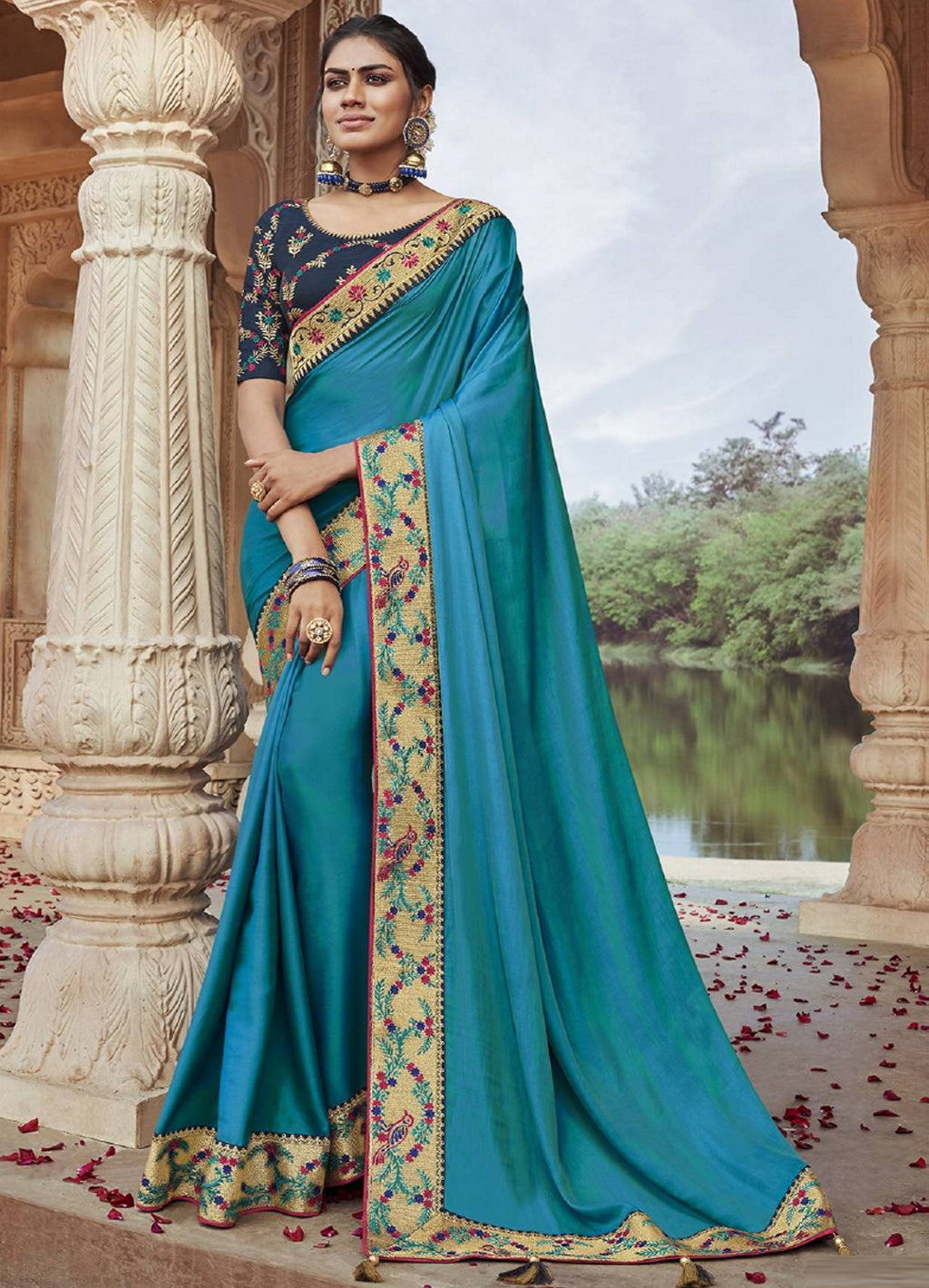 Firozi Color Two Tone Silk Pretty Designer Sarees NYF-6098