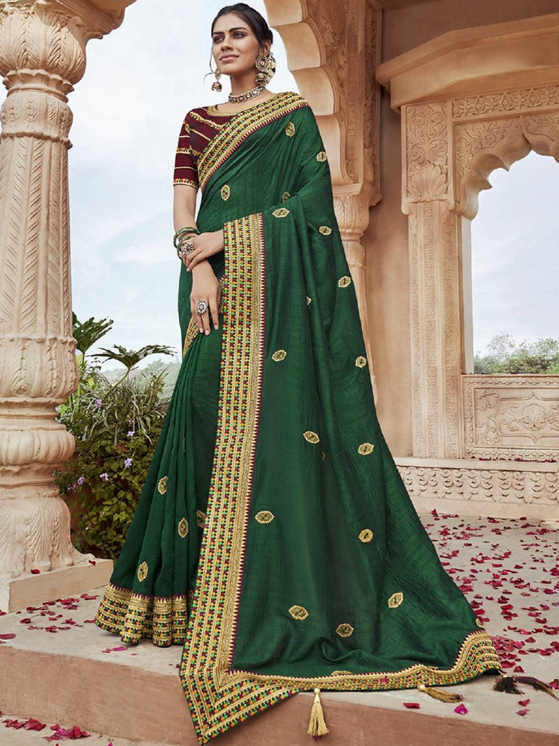 Green Color Raw Silk Pretty Designer Sarees NYF-6099