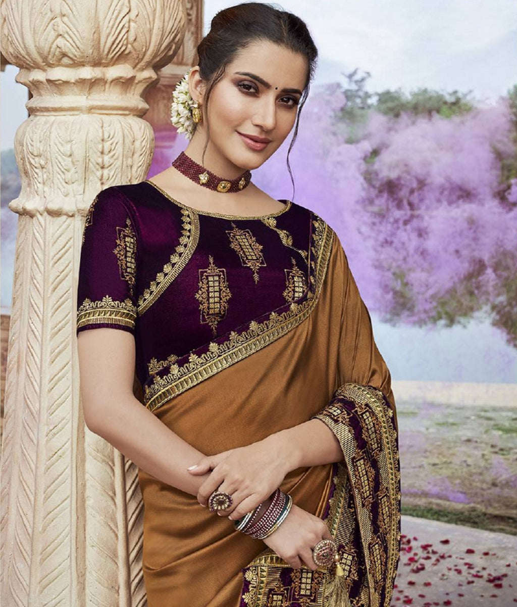 Coffee Color Two Tone Silk Pretty Designer Sarees NYF-6100