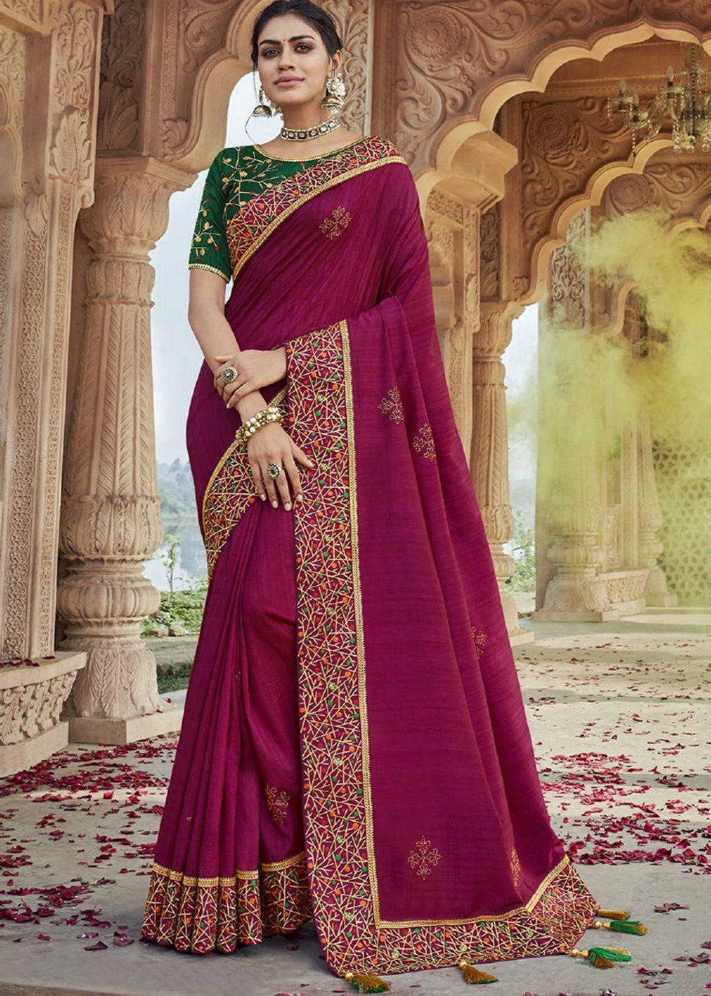 Pink Color Raw Silk Pretty Designer Sarees NYF-6101
