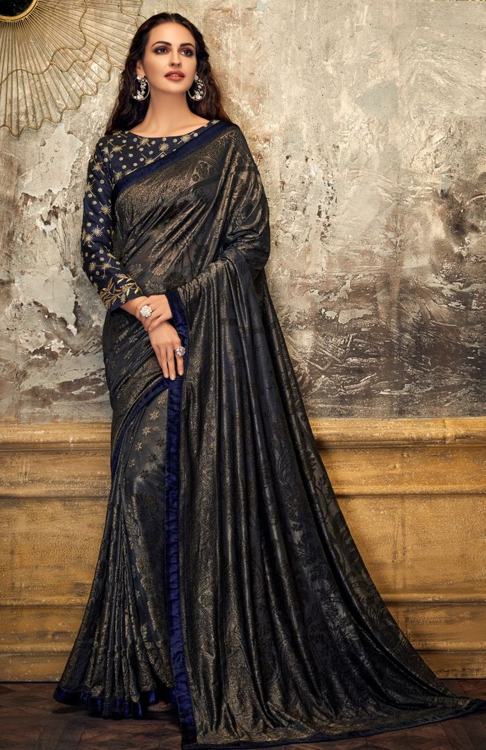 Grey & Blue Color Embossed lycra Trendy Party Wear Sarees NYF-4386