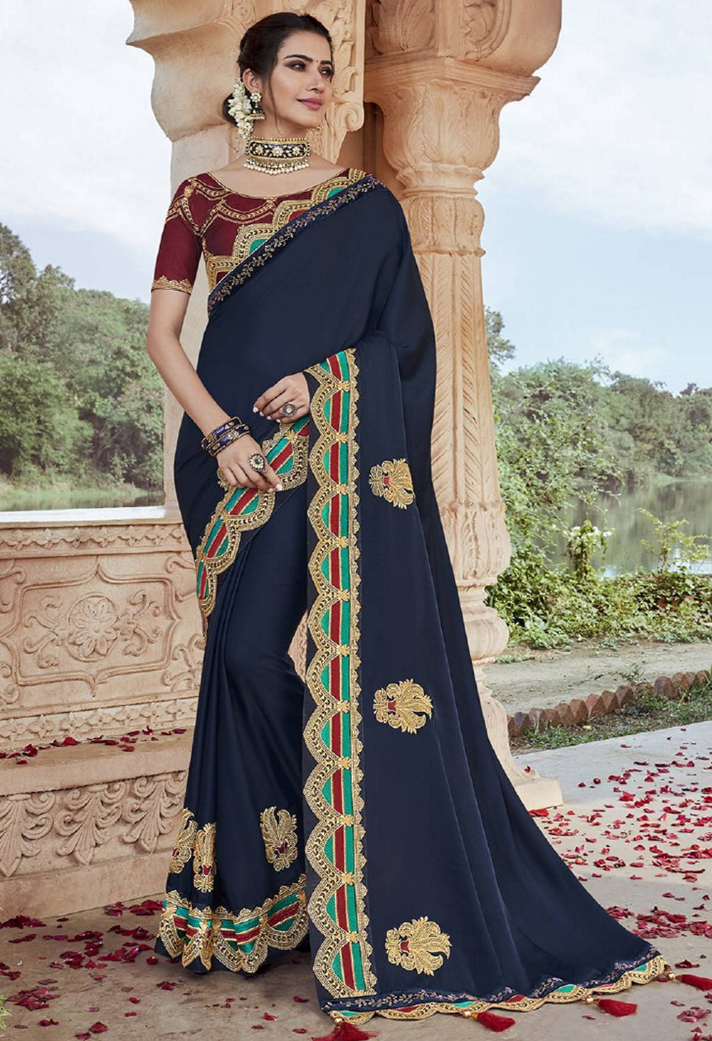 Blue Color Two Tone Silk Pretty Designer Sarees NYF-6102