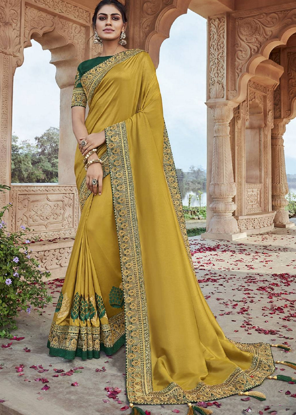 Yellow Color Two Tone Silk Pretty Designer Sarees NYF-6103