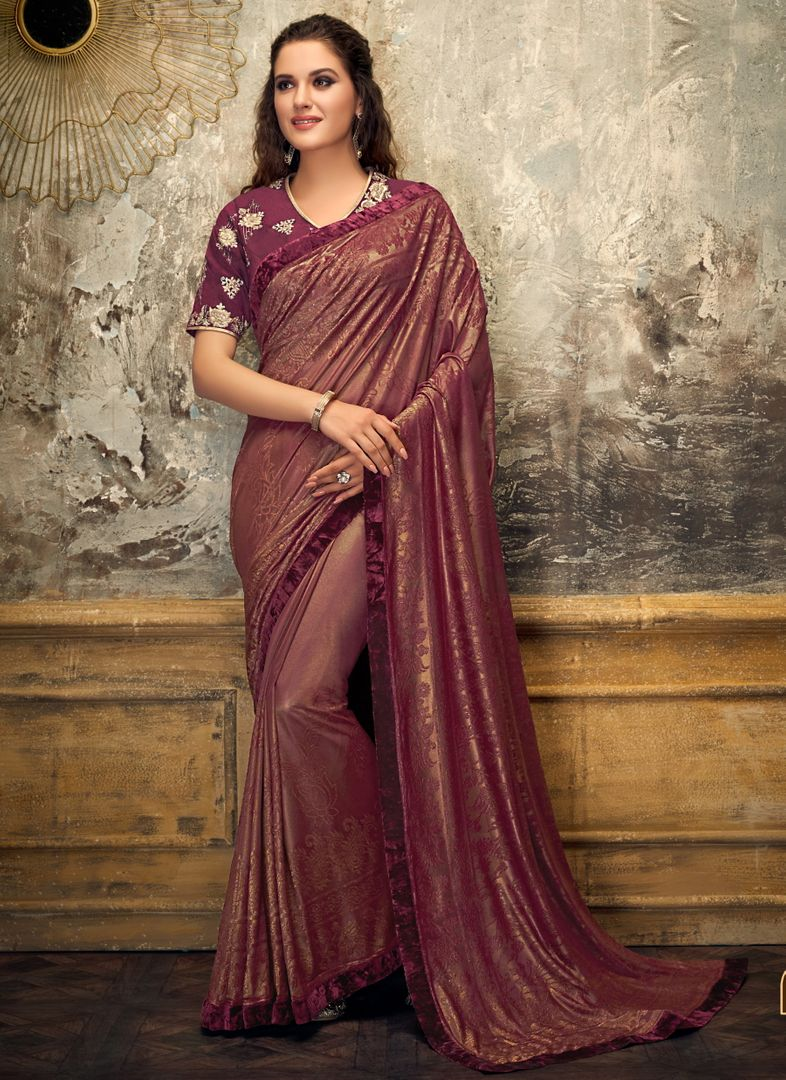 Pink Color Embossed lycra Trendy Party Wear Sarees NYF-4388