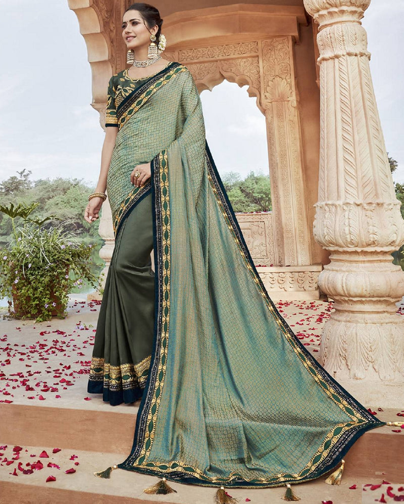 Green & Mehendi Green Color Two Tone Silk Pretty Designer Sarees NYF-6104