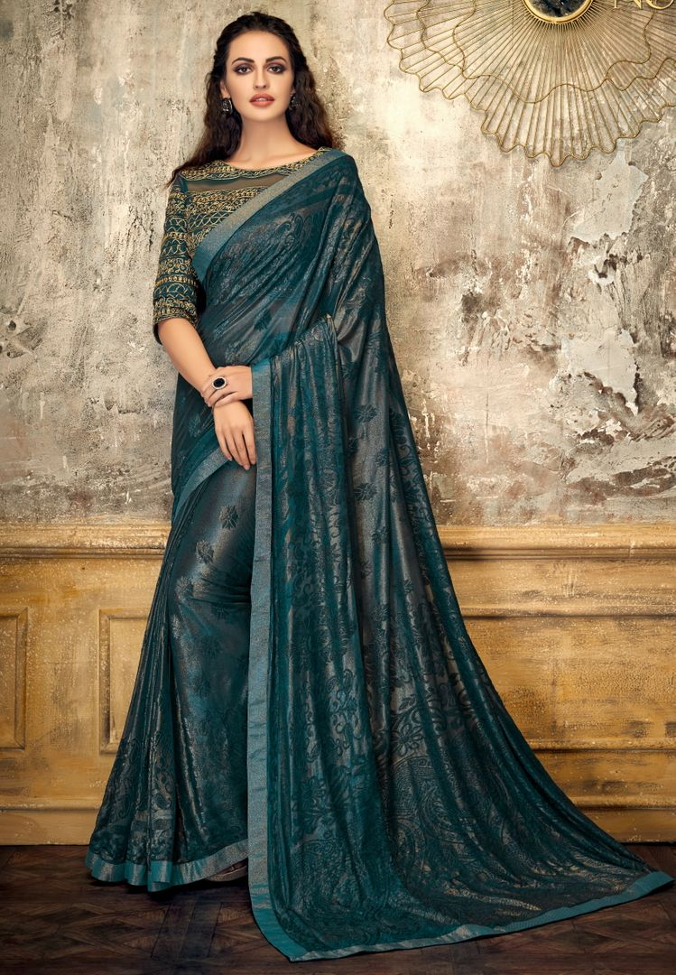 Rama Green Color Embossed lycra Trendy Party Wear Sarees NYF-4389