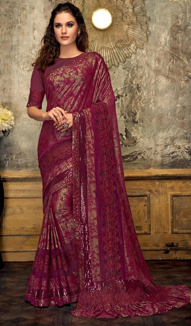 Magenta Color Half Lycra & Half Fancy Net Trendy Party Wear Sarees NYF-4390