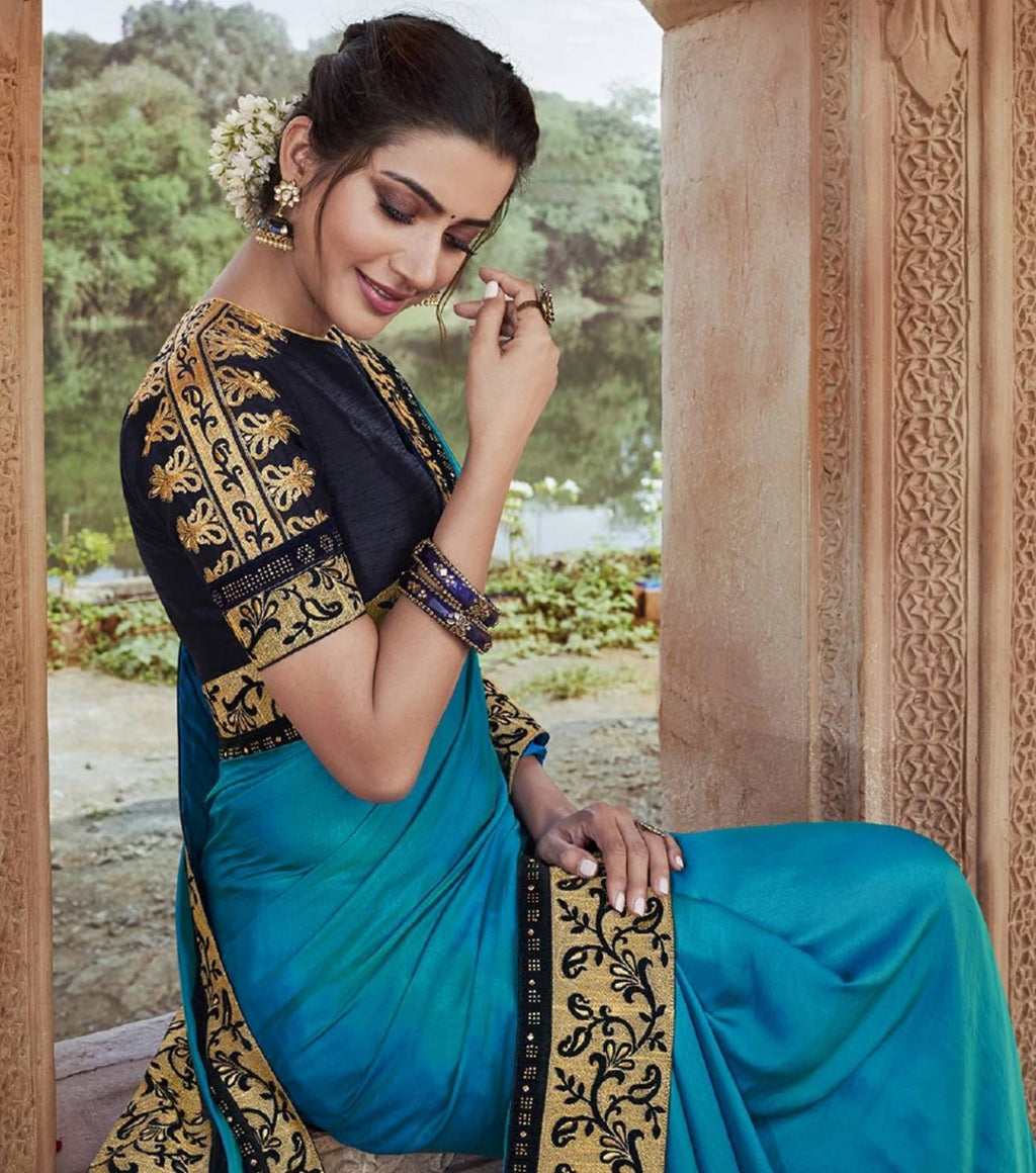 Firozi Color Two Tone Silk Pretty Designer Sarees NYF-6106