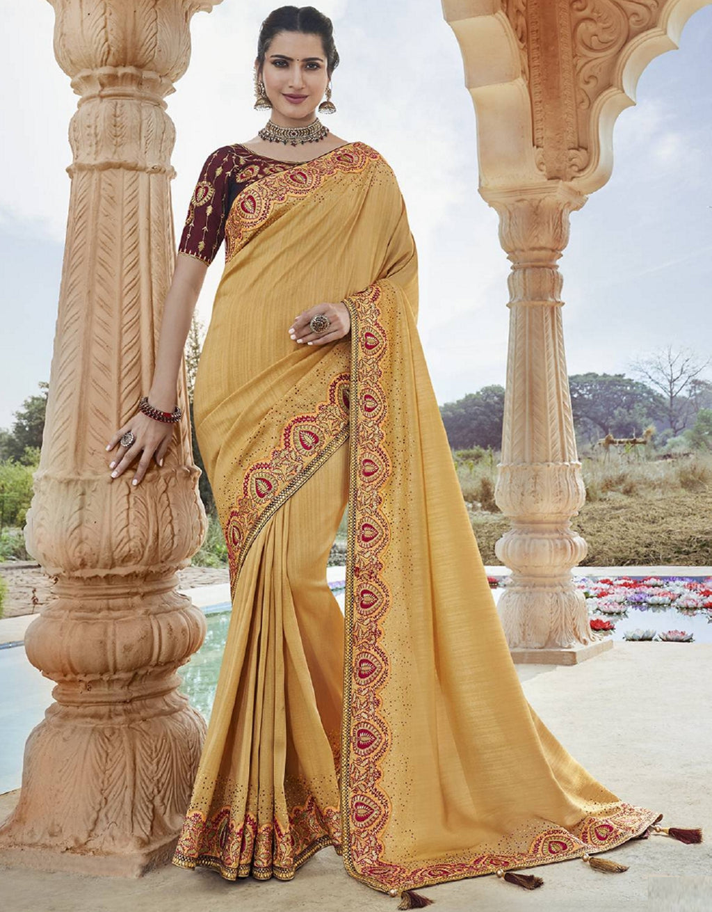 Light Coffee Color Raw Silk Pretty Designer Sarees NYF-6107