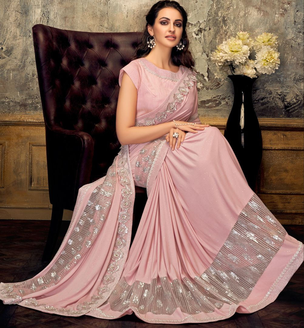 Pink Color Half Lycra & Half Fancy Net Trendy Party Wear Sarees NYF-4392