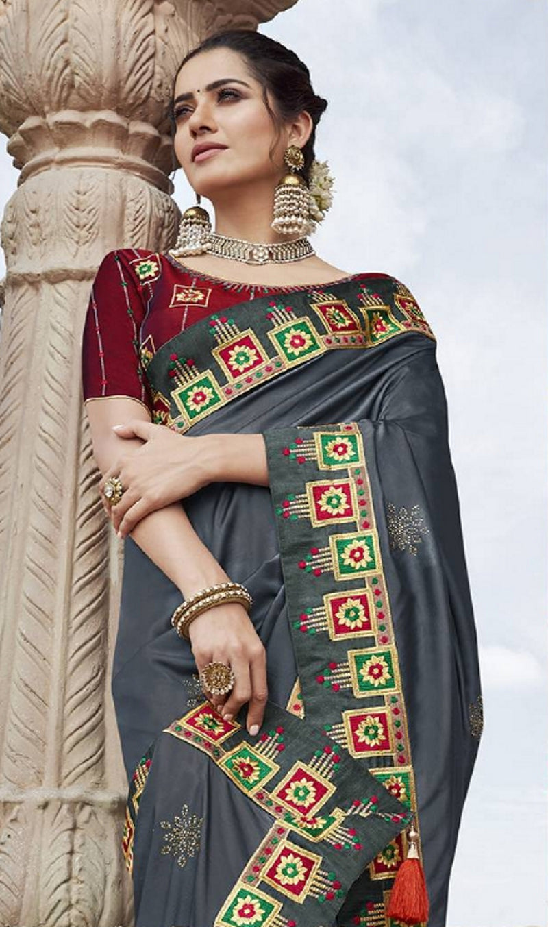 Grey Color Two Tone Silk Pretty Designer Sarees NYF-6108