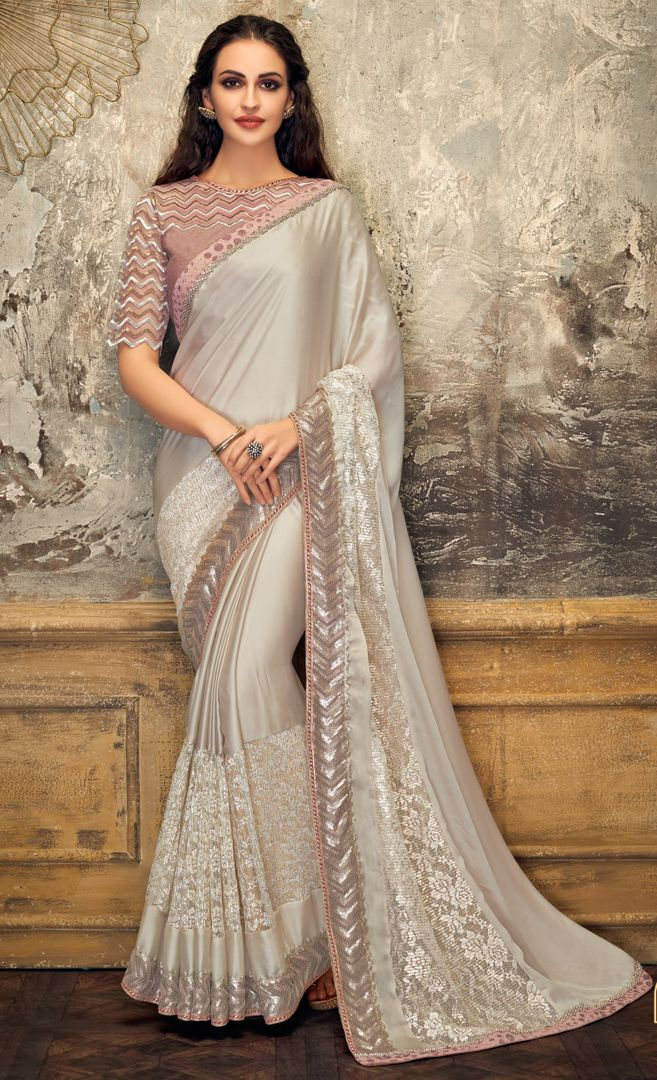 Silver Grey Color Half Lycra & Half Fancy Net Trendy Party Wear Sarees NYF-4393