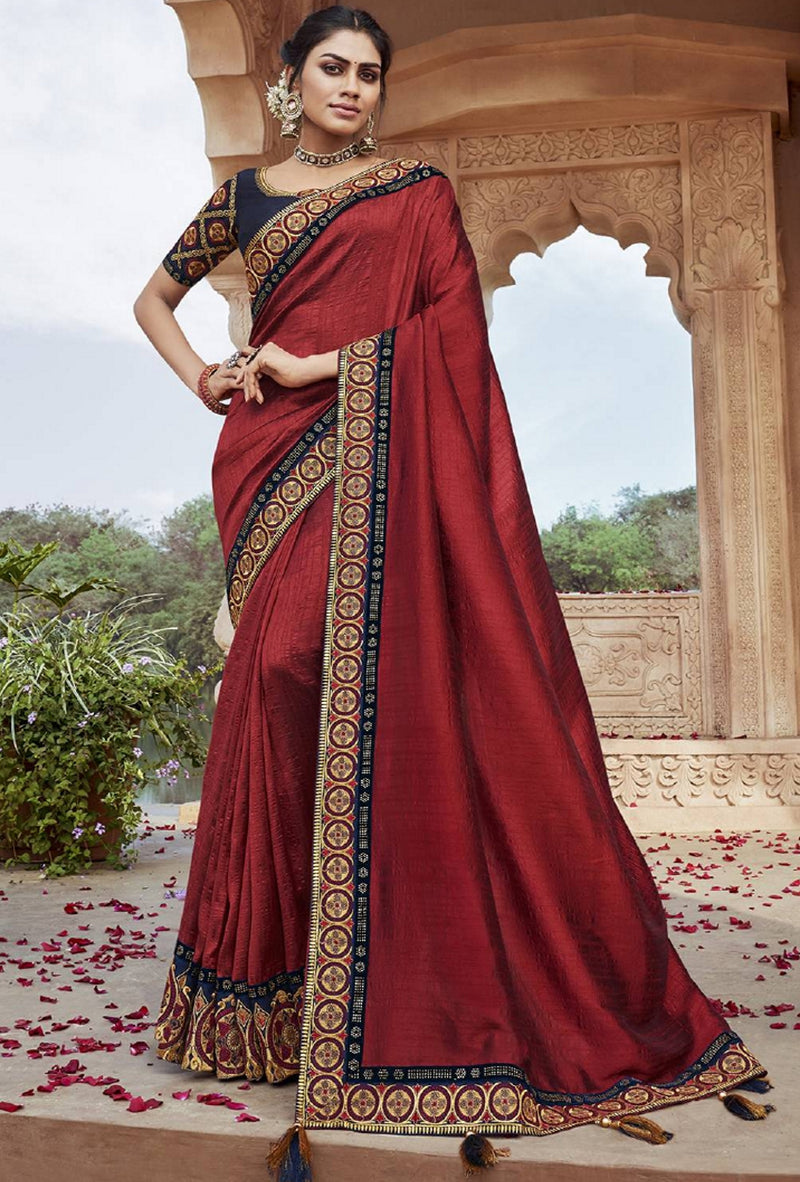 Red Color Raw Silk Pretty Designer Sarees NYF-6109