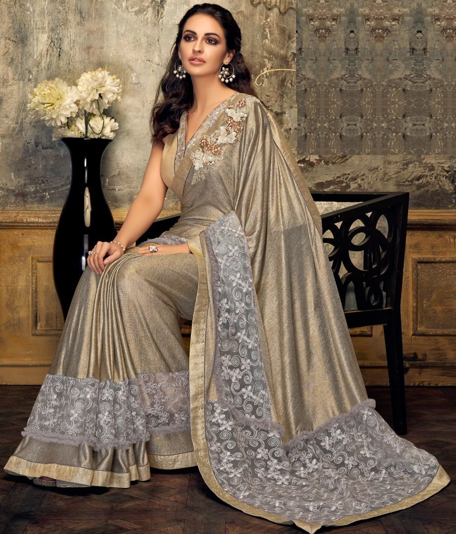 Light Golden Color Half Fancy lycra & Half Embellished Net Trendy Party Wear Sarees NYF-4394