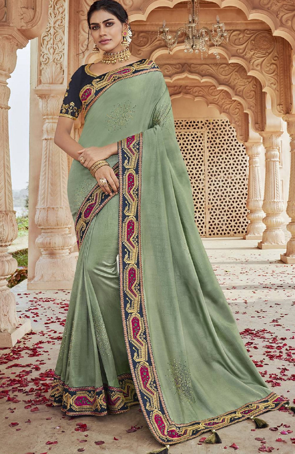 Aqua Green Color Raw Silk Pretty Designer Sarees NYF-6110