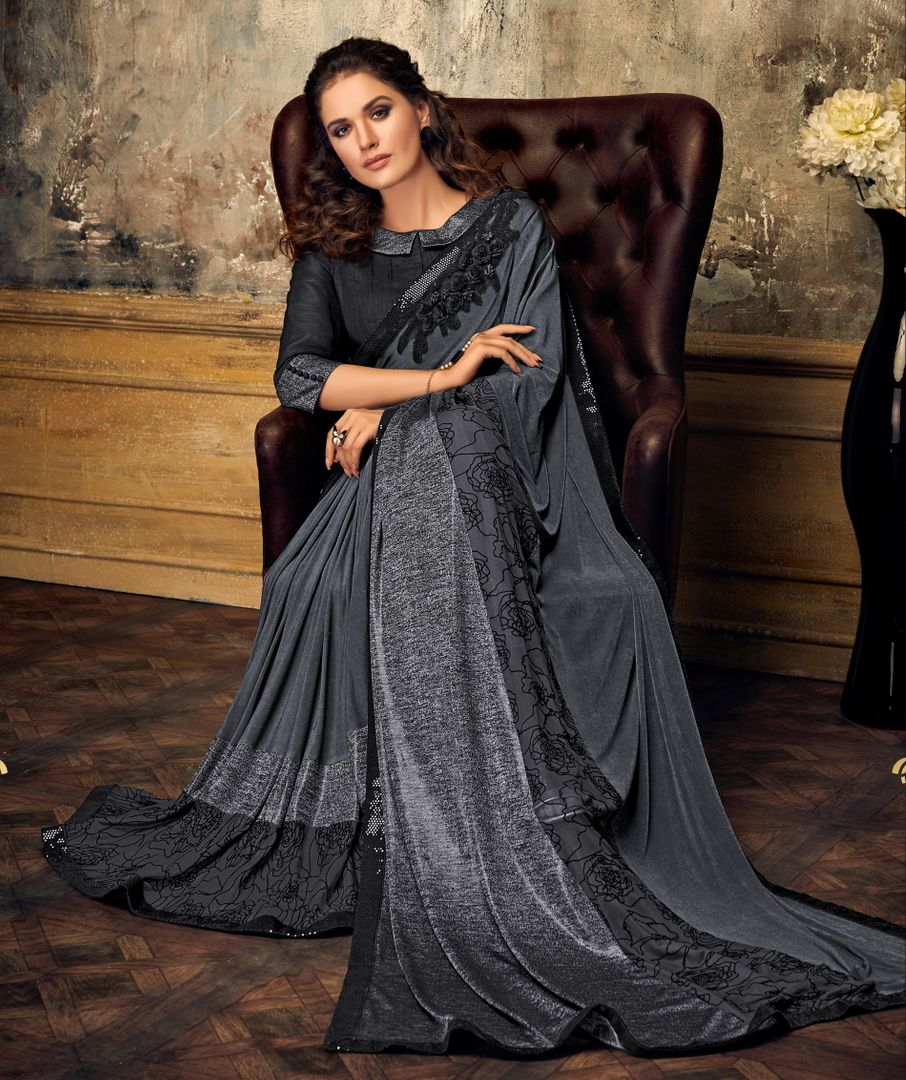 Grey Color Lycra Trendy Party Wear Sarees NYF-4395