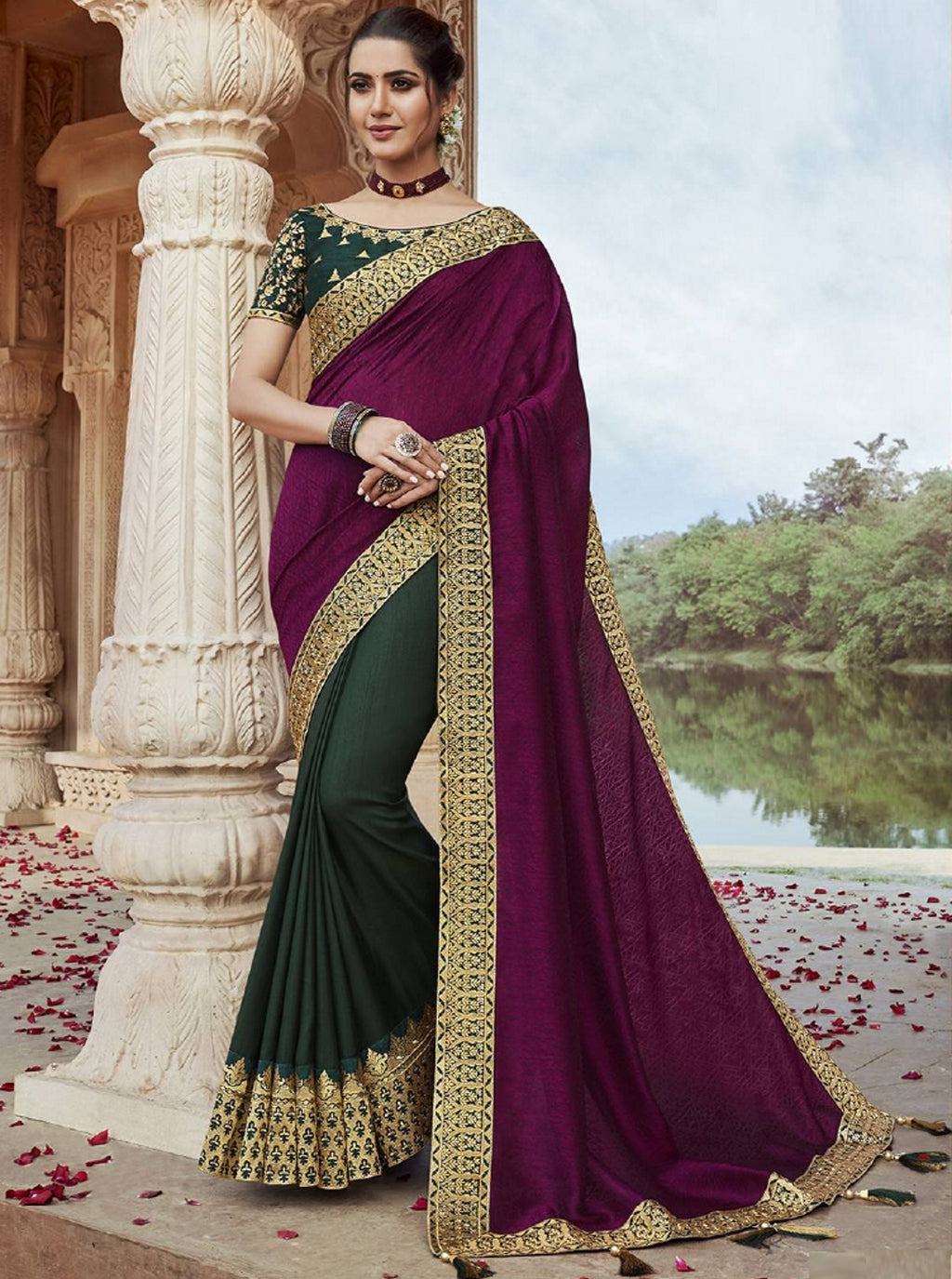 Purple & Green Color Raw Silk Pretty Designer Sarees NYF-6111