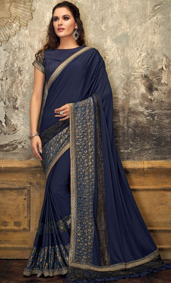 Blue Color Lycra Trendy Party Wear Sarees NYF-4396