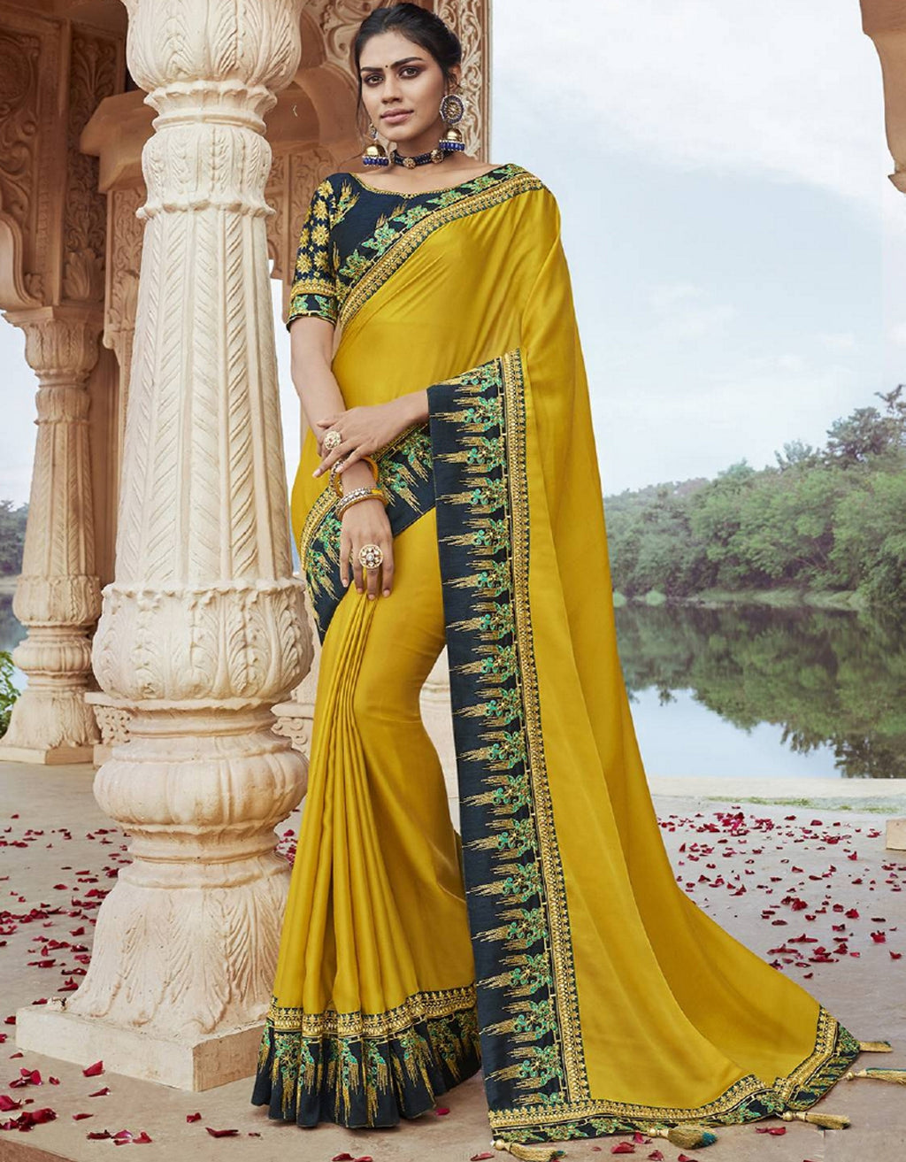 Yellow Color Two Tone Silk Pretty Designer Sarees NYF-6112