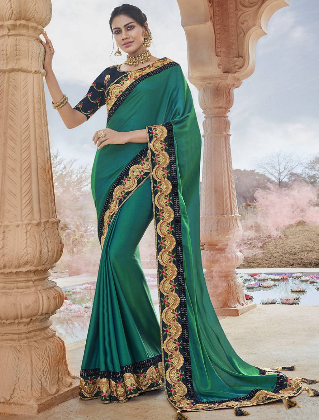Green Color Two Tone Silk Pretty Designer Sarees NYF-6113
