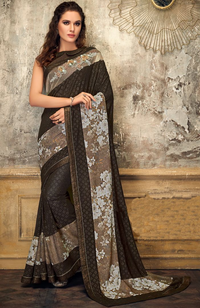 Brown Color Fancy Lycra Trendy Party Wear Sarees NYF-4398