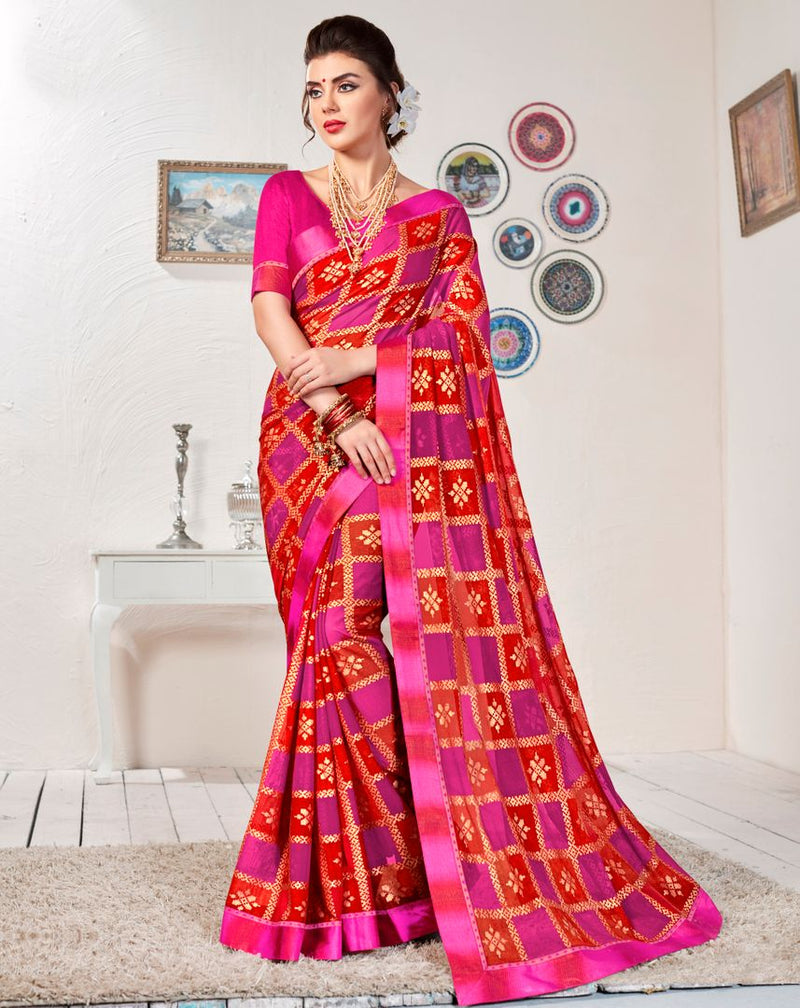 Rani Pink & Red Color Georgette Fol Print Party & Function Wear Sarees : Abhima Collection  NYF-2341 - YellowFashion.in