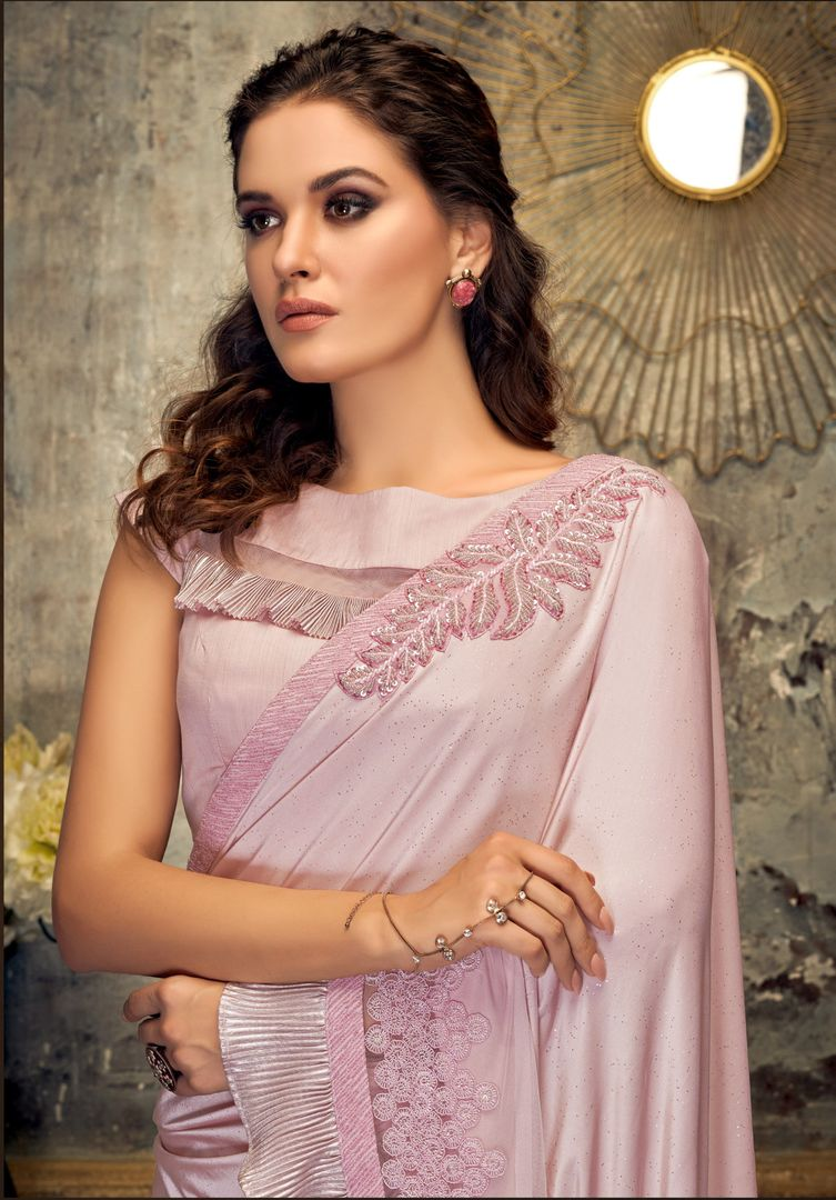 Baby Pink Color Lycra Trendy Party Wear Sarees NYF-4399