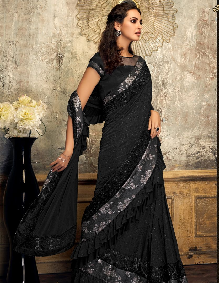 Black Color Fancy Lycra Trendy Party Wear Sarees NYF-4400