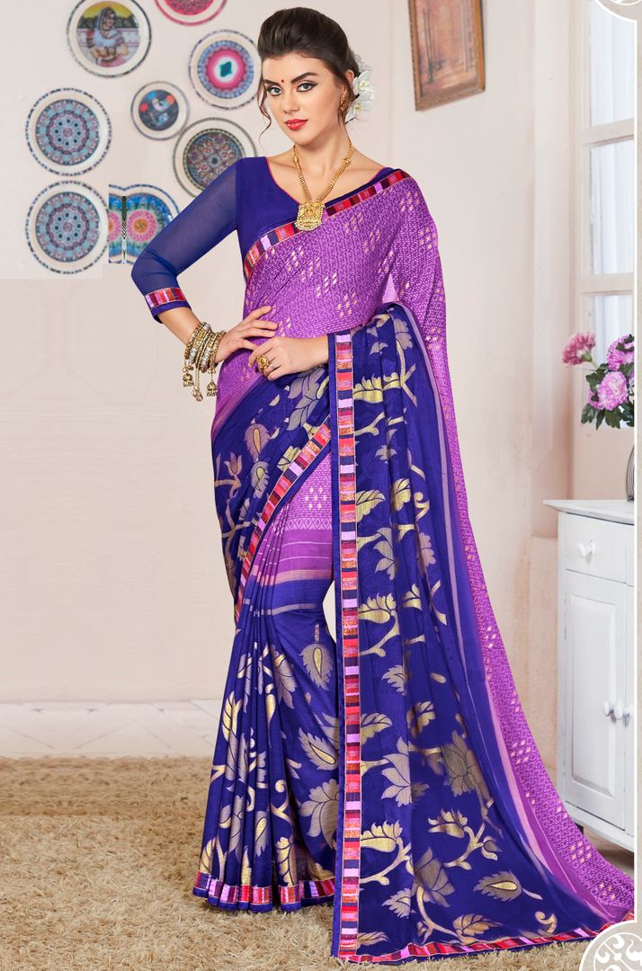 Purple & Blue Color Georgette Fol Print Party & Function Wear Sarees : Abhima Collection  NYF-2342 - YellowFashion.in