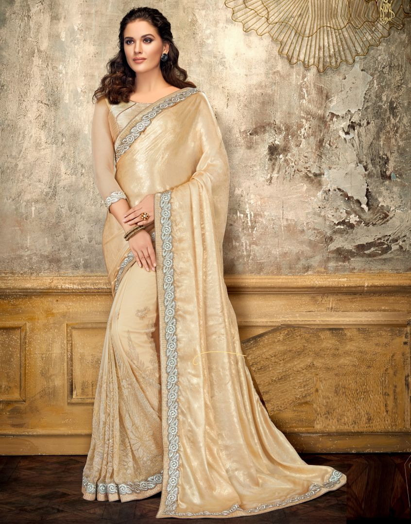 Golden Color Half Satin Georgette & Half Net Trendy Party Wear Sarees NYF-4401