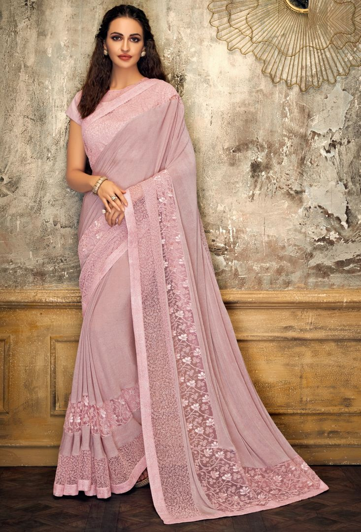 Pink Color Half Lycra & Half Fancy Net Trendy Party Wear Sarees NYF-4402