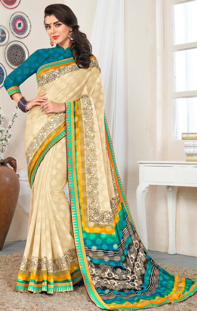 Cream Color Chiffon Party & Function Wear Sarees : Abhima Collection  NYF-2343 - YellowFashion.in