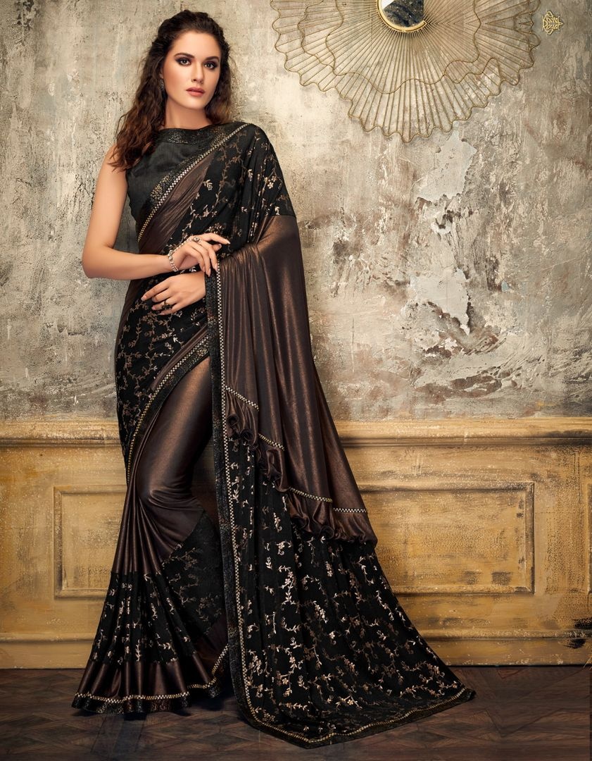 Brown  Color Lycra Trendy Party Wear Sarees NYF-4403