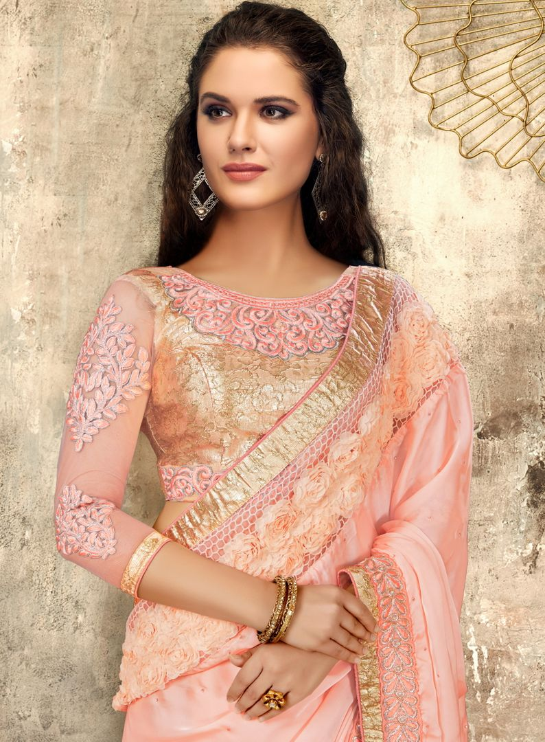 Pink Color Satin Georgette Trendy Party Wear Sarees NYF-4404