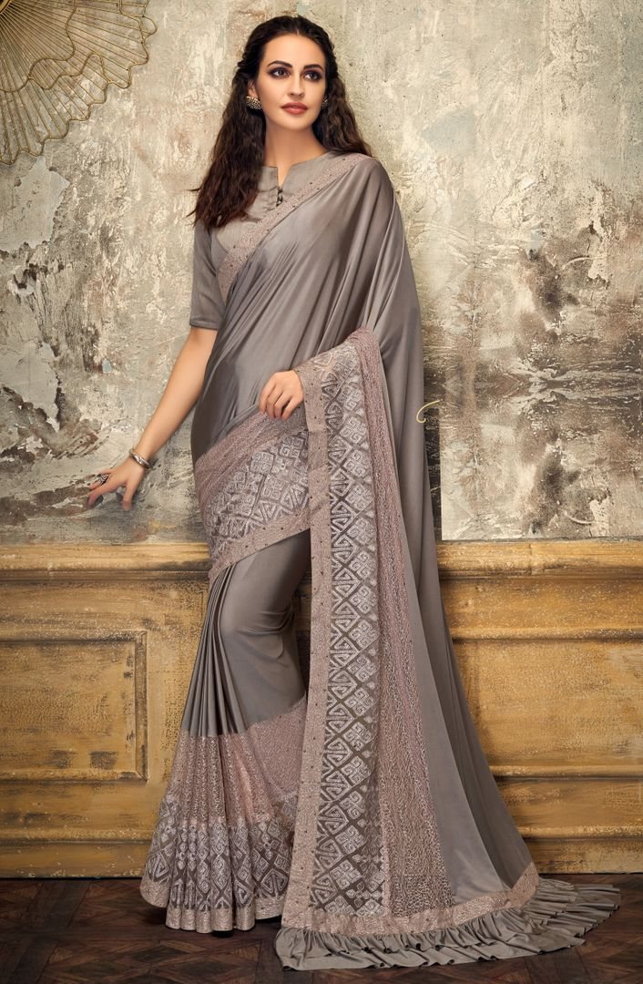 Grey Color Half Lycra & Half Fancy Net Trendy Party Wear Sarees NYF-4405