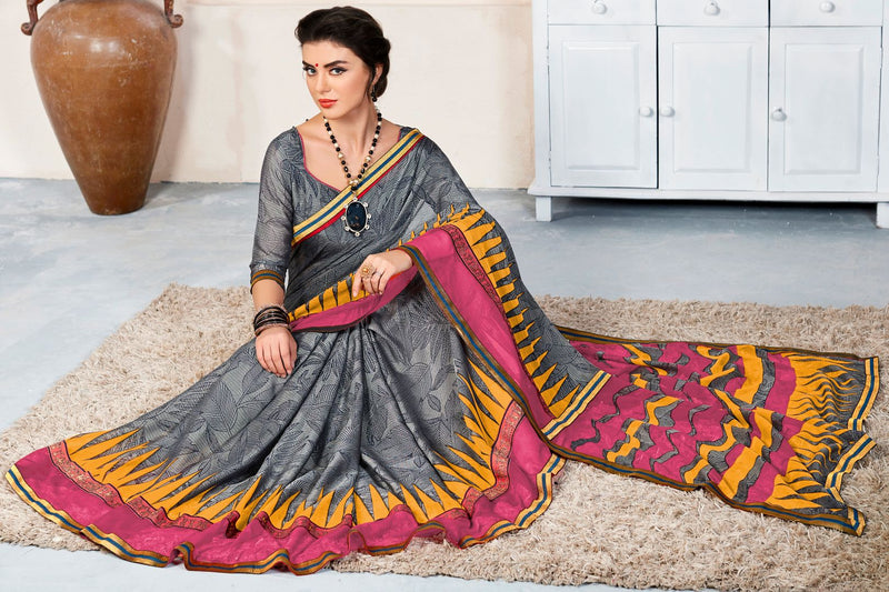 Grey Color Linen Cotton Party & Function Wear Sarees : Abhima Collection  NYF-2345 - YellowFashion.in