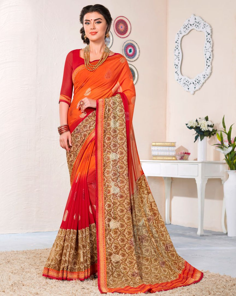 Orange & Red Color Linen Cotton Party & Function Wear Sarees : Abhima Collection  NYF-2347 - YellowFashion.in