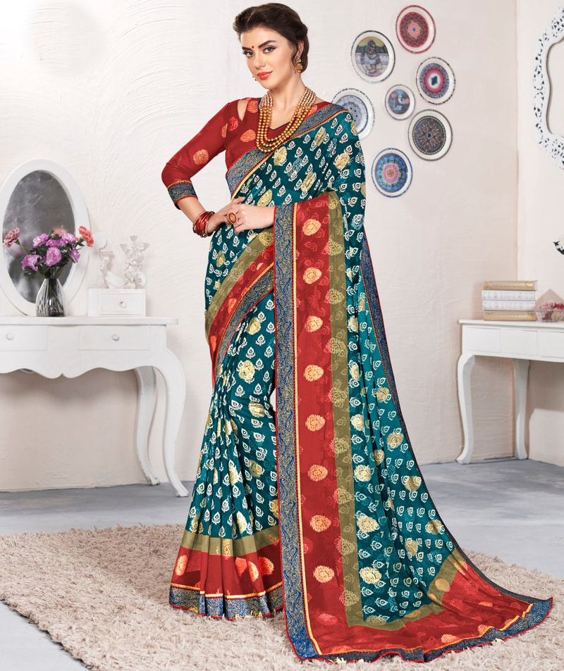 Rama Blue Color Linen Cotton Party & Function Wear Sarees : Abhima Collection  NYF-2348 - YellowFashion.in