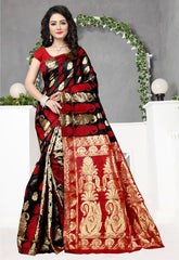 Black & Red Color Art Silk Festival & Function Wear Sarees : Dipashri Collection  YF-51691