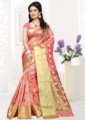 Baby Pink Color Banarsi Silk Casual Party Sarees : Jenika Collection  YF-51958