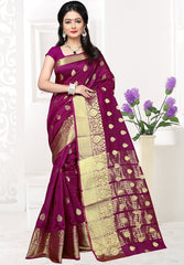 Magenta Color Banarsi Silk Casual Party Sarees : Jenika Collection  YF-51959