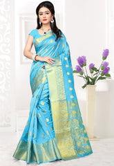 Firozi Color Banarsi Silk Casual Party Sarees : Jenika Collection  YF-51963