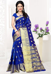 Blue Color Banarsi Silk Casual Party Sarees : Jenika Collection  YF-51965