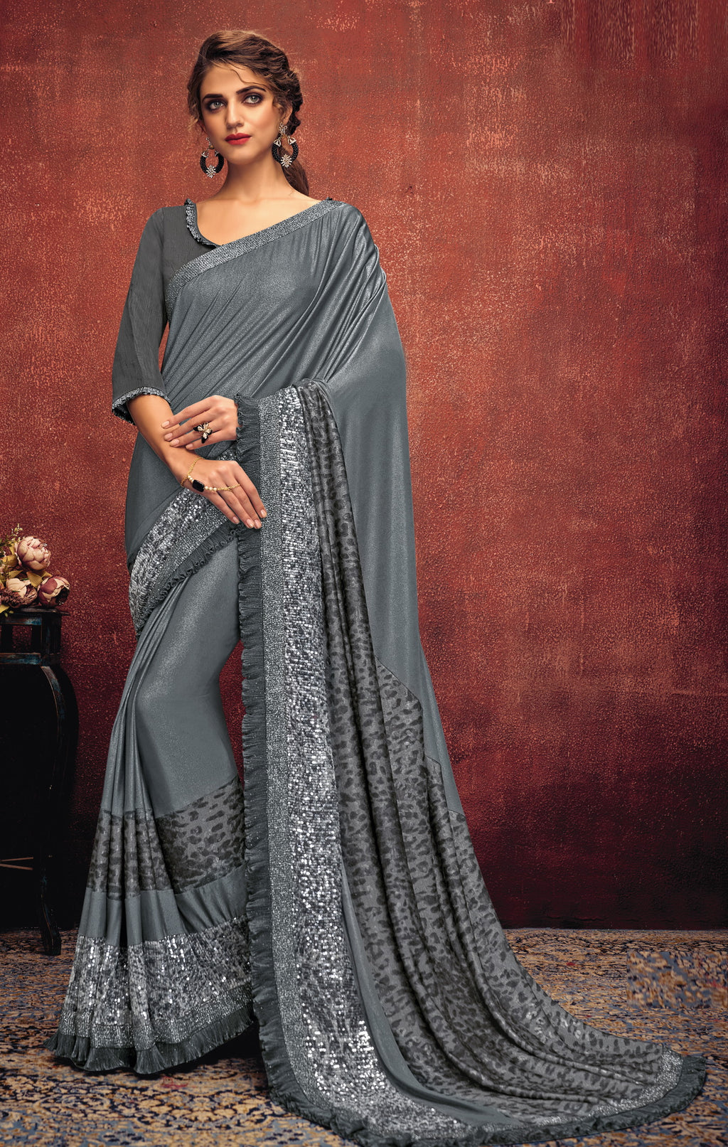 Grey Color Lycra Elegant Party Wear Sarees NYF-5846