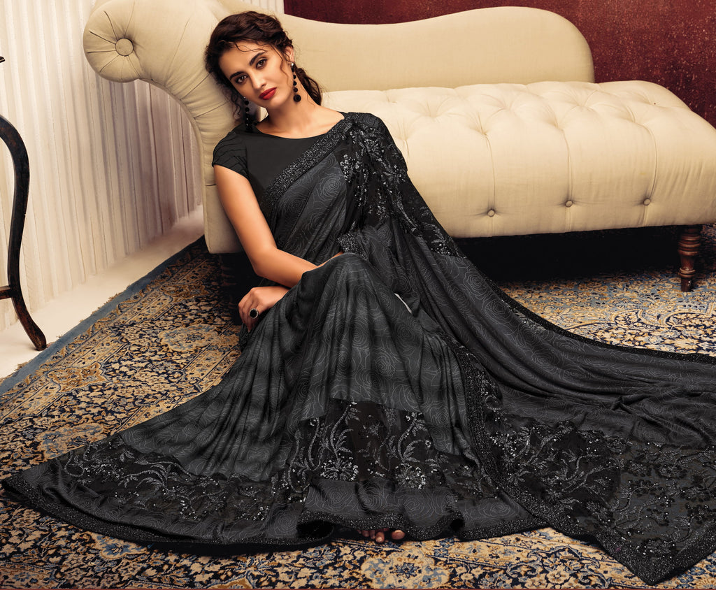 Black Color Lycra Elegant Party Wear Sarees NYF-5848