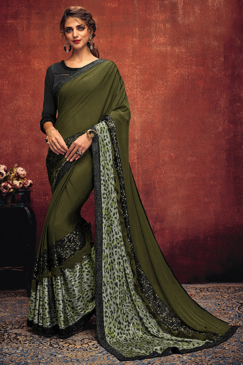 Mehendi Green Color Lycra Elegant Party Wear Sarees NYF-5849