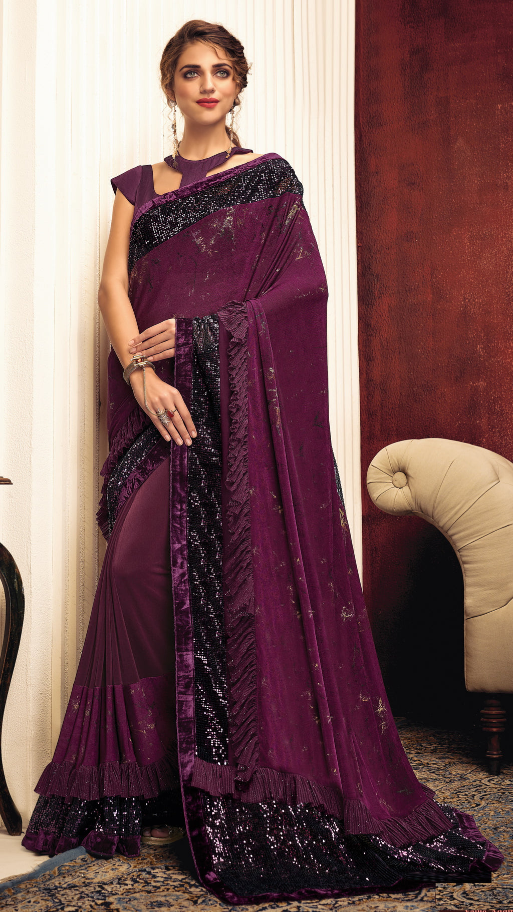 Purple Color Lycra Elegant Party Wear Sarees NYF-5851