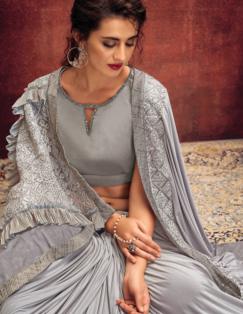 Grey Color Lycra Elegant Party Wear Sarees NYF-5852