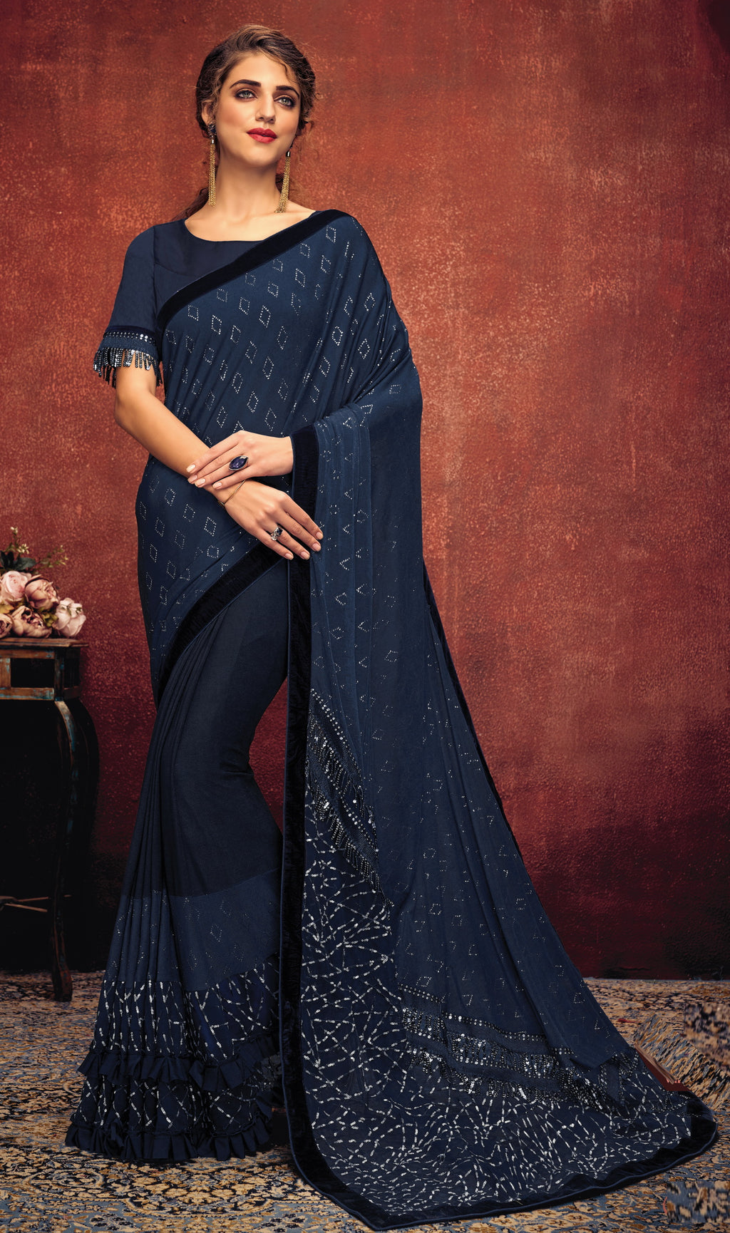 Blue Color Lycra Elegant Party Wear Sarees NYF-5853